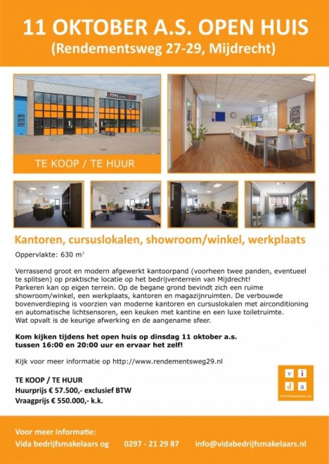 11 Oktober open huis Rendementsweg 27-29 Mijdrecht